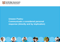 Unseen Poetry: Communicate a considered personal response