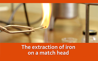 The extraction of iron on a match head