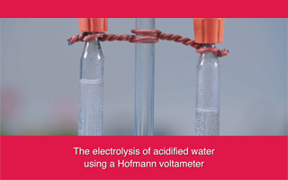 The electrolysis of acidified water using a Hofmann voltameter