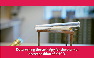 Determining the enthalpy for the thermal decomposition of KHCO3
